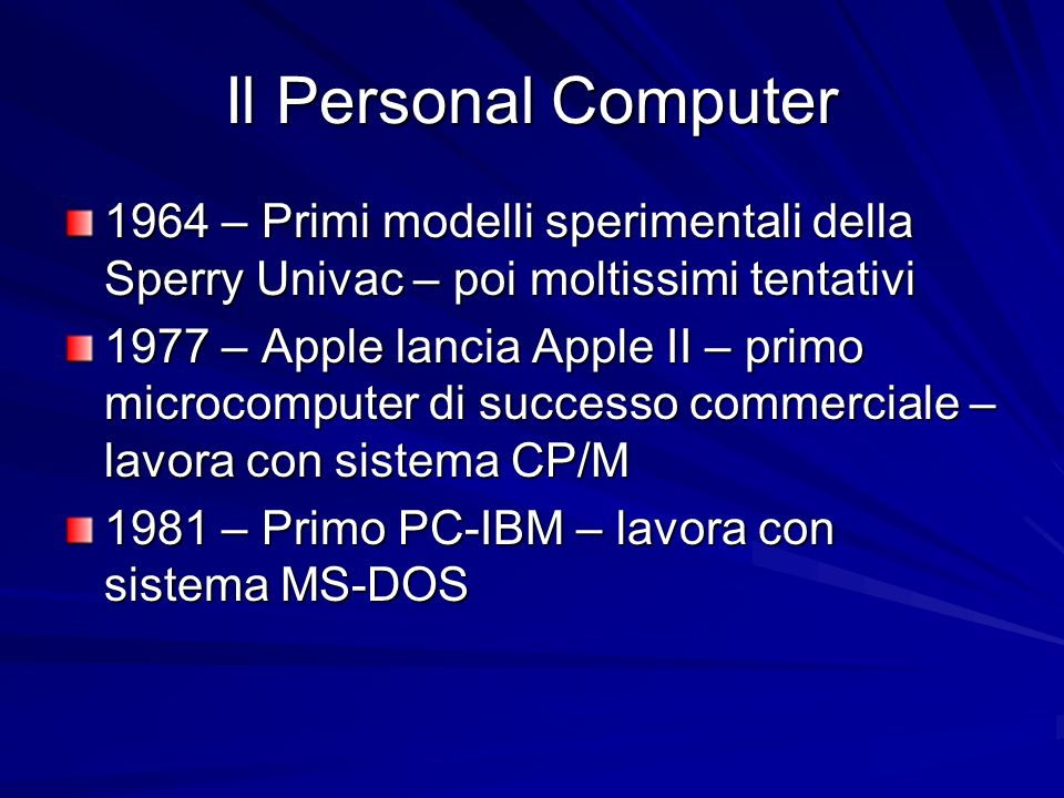 Il Personal Computer 1964 – Primi modelli sperimentali della Sperry Univac – poi moltissimi tentativi.
