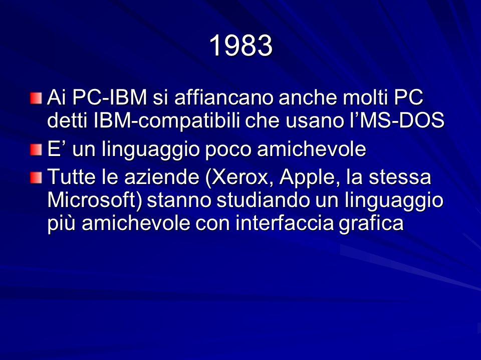 1983 Ai PC-IBM si affiancano anche molti PC detti IBM-compatibili che usano l'MS-DOS.