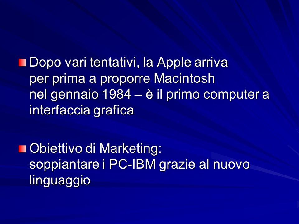 Dopo vari tentativi, la Apple arriva per prima a proporre Macintosh nel gennaio 1984 – è il primo computer a interfaccia grafica