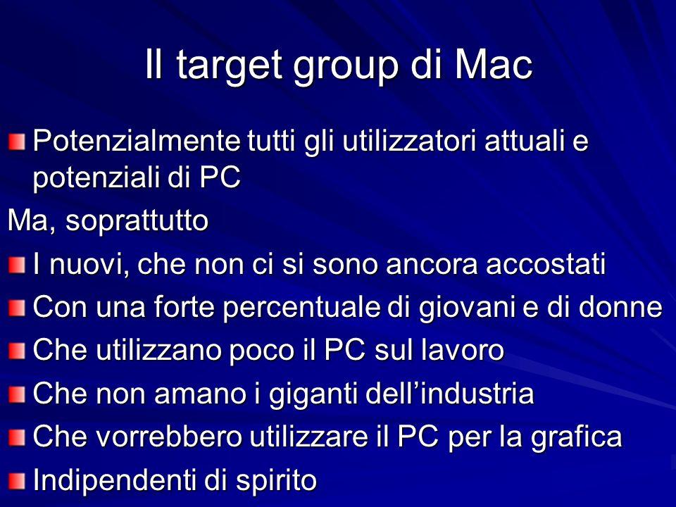 Il target group di Mac Potenzialmente tutti gli utilizzatori attuali e potenziali di PC. Ma, soprattutto.