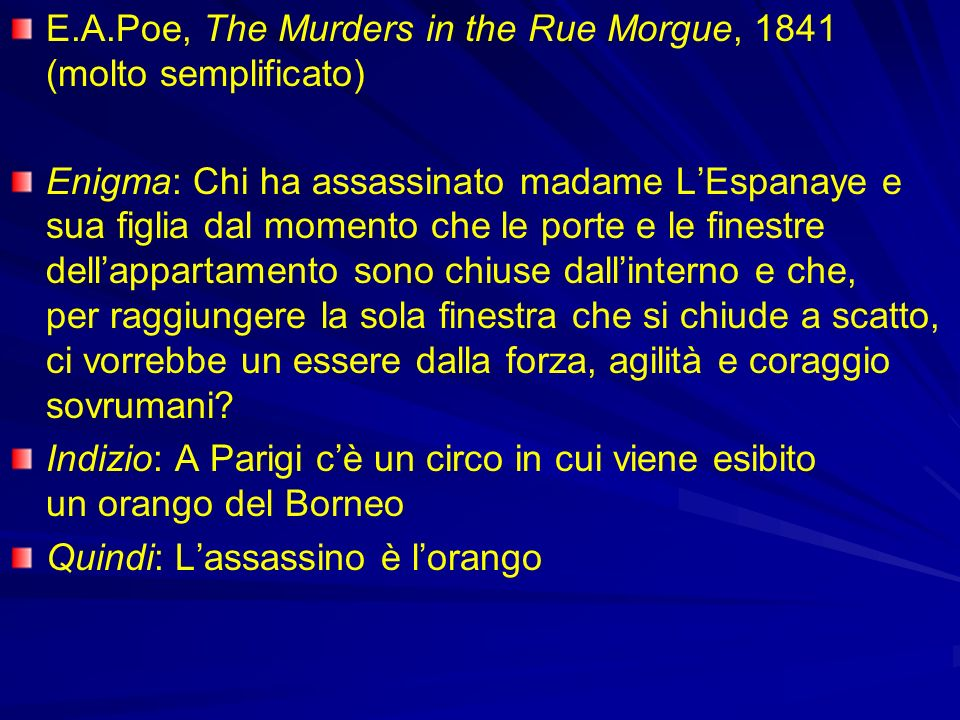 E.A.Poe, The Murders in the Rue Morgue, 1841 (molto semplificato)