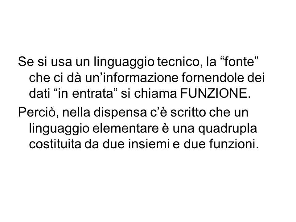 Se si usa un linguaggio tecnico, la fonte che ci dà un'informazione fornendole dei dati in entrata si chiama FUNZIONE.