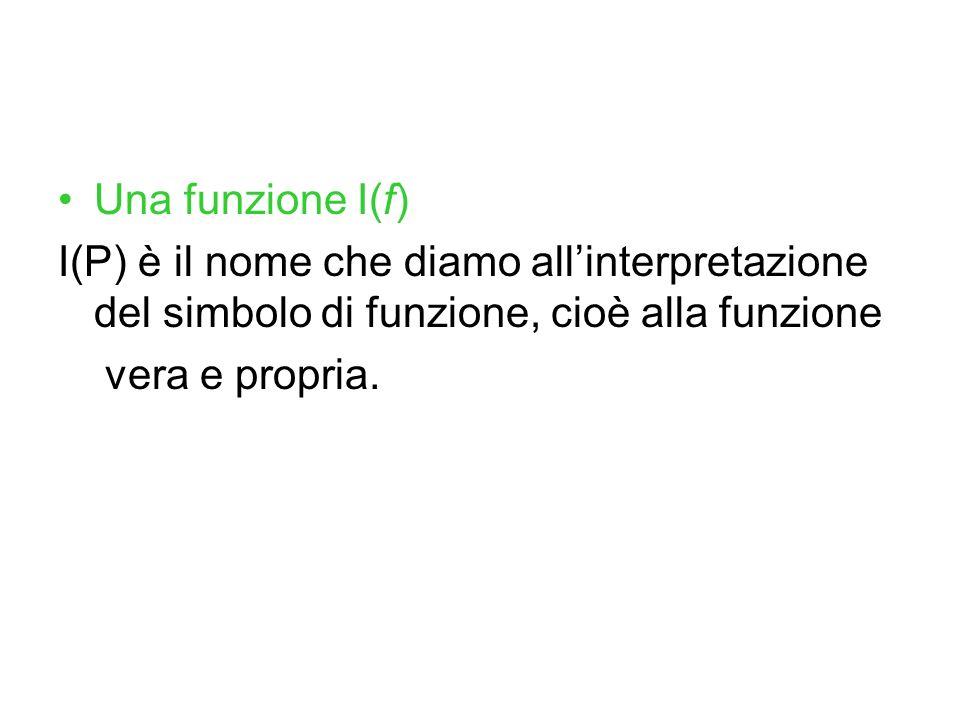Una funzione I(f) I(P) è il nome che diamo all'interpretazione del simbolo di funzione, cioè alla funzione.