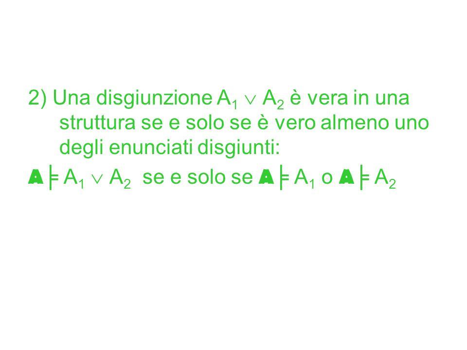 2) Una disgiunzione A1  A2 è vera in una struttura se e solo se è vero almeno uno degli enunciati disgiunti: