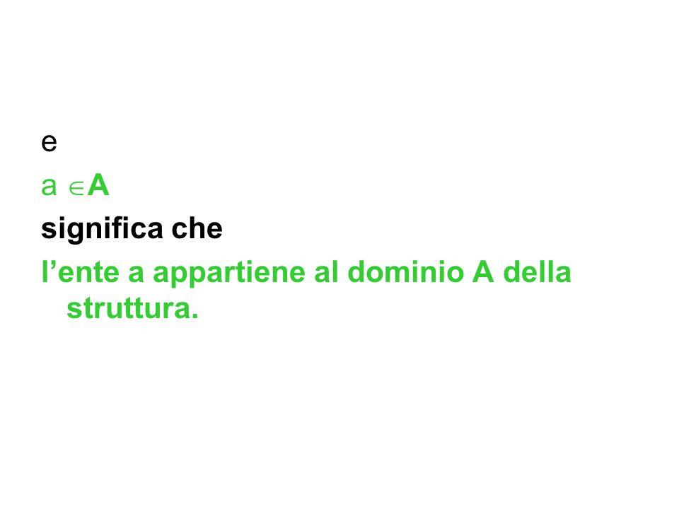 e a A significa che l'ente a appartiene al dominio A della struttura.