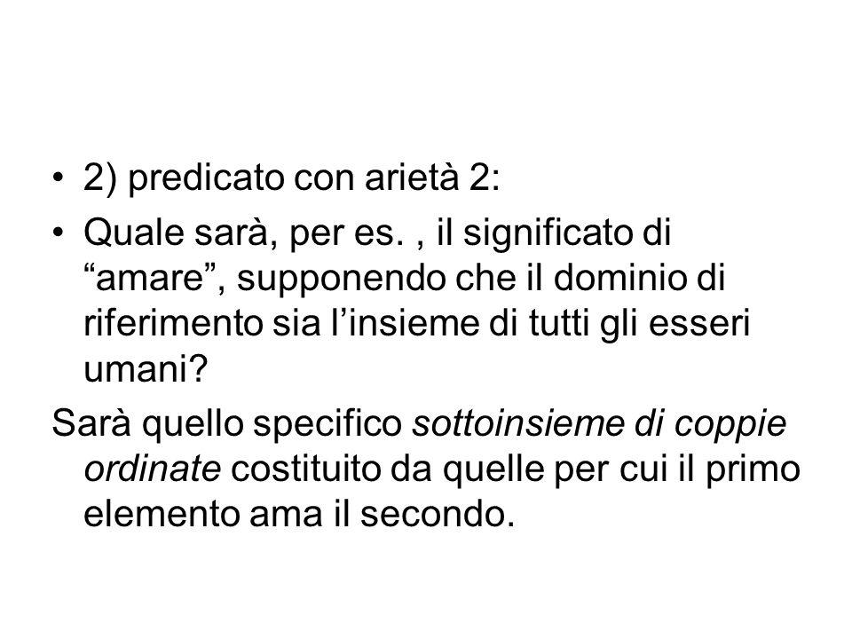 2) predicato con arietà 2: