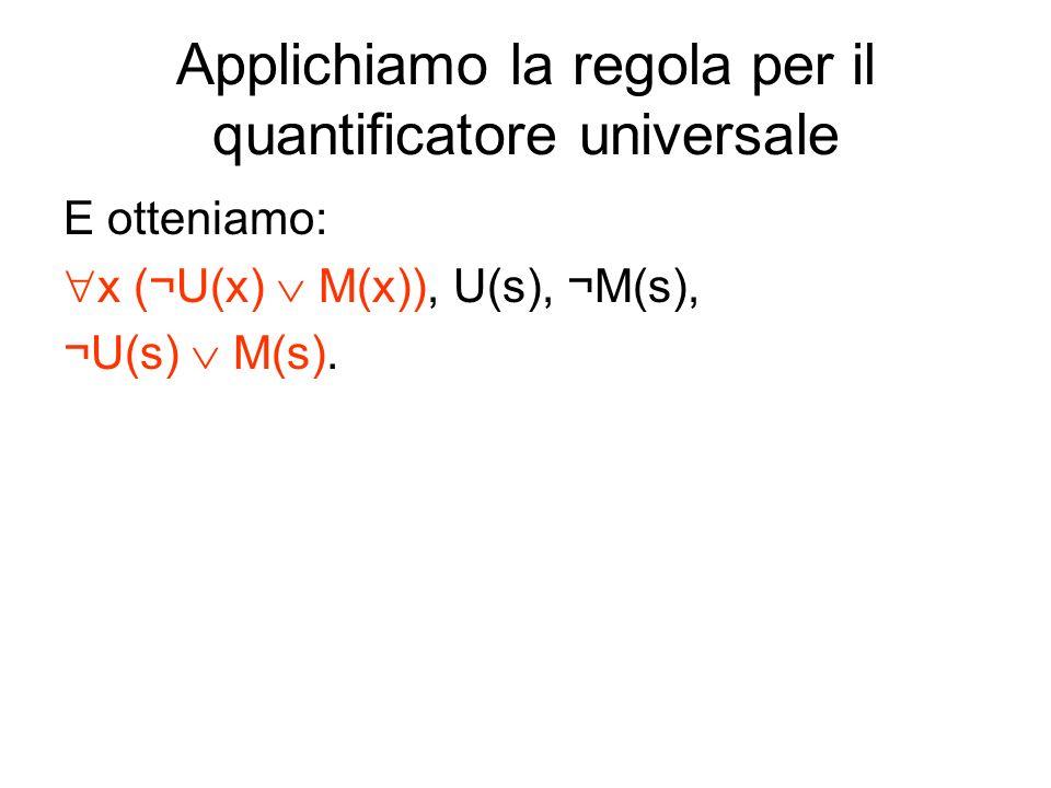 Applichiamo la regola per il quantificatore universale