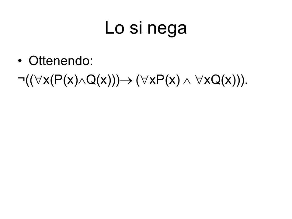 Lo si nega Ottenendo: ¬((x(P(x)Q(x))) (xP(x)  xQ(x))).