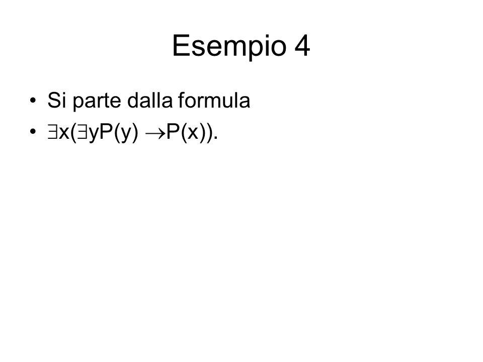 Esempio 4 Si parte dalla formula x(yP(y) P(x)).