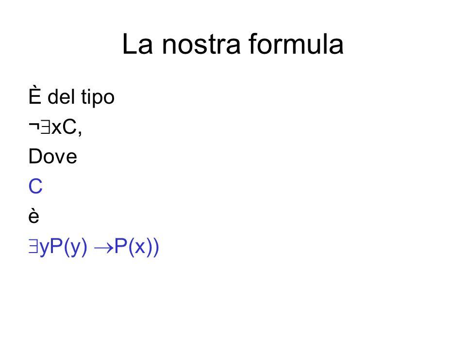 La nostra formula È del tipo ¬xC, Dove C è yP(y) P(x))
