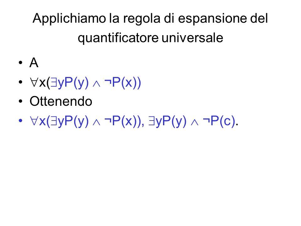 Applichiamo la regola di espansione del quantificatore universale