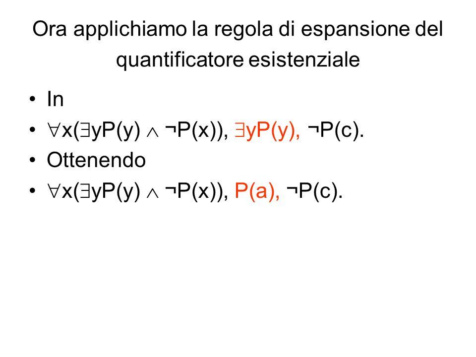 Ora applichiamo la regola di espansione del quantificatore esistenziale