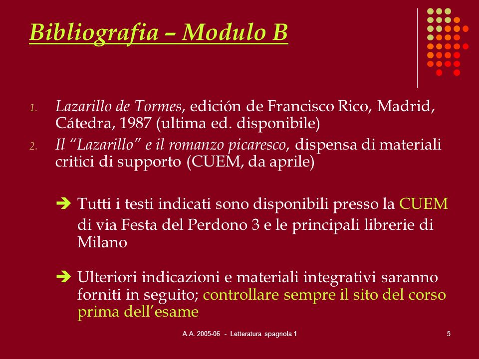 Bibliografia – Modulo B
