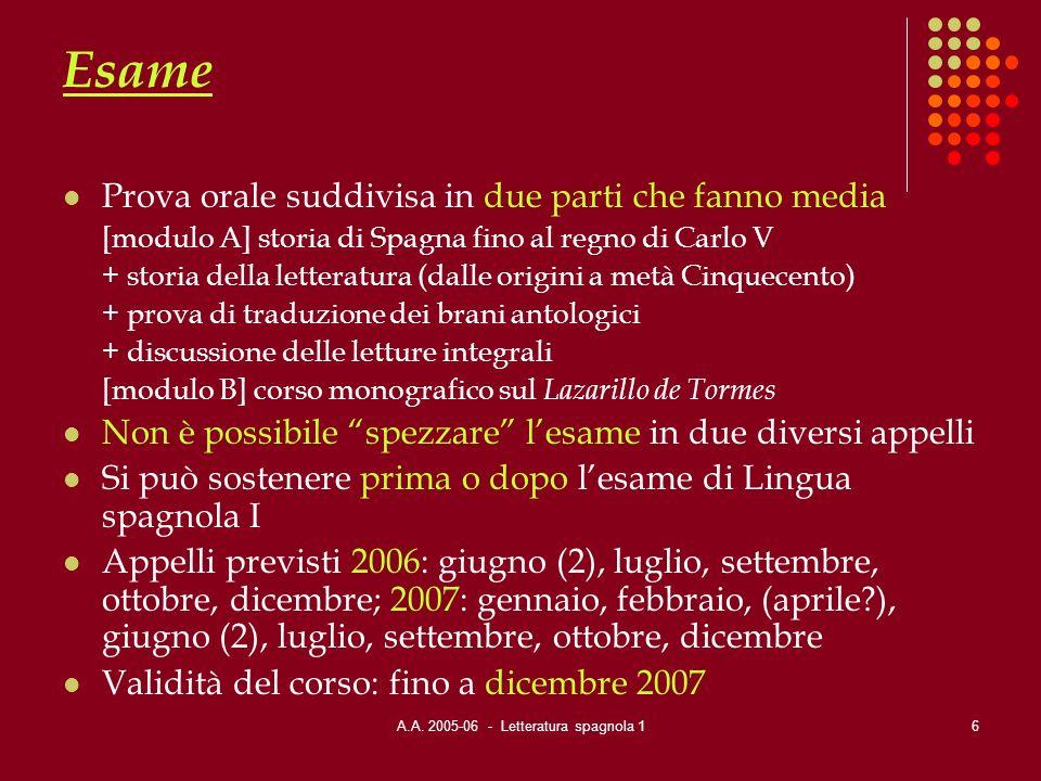 A.A. 2005-06 - Letteratura spagnola 1