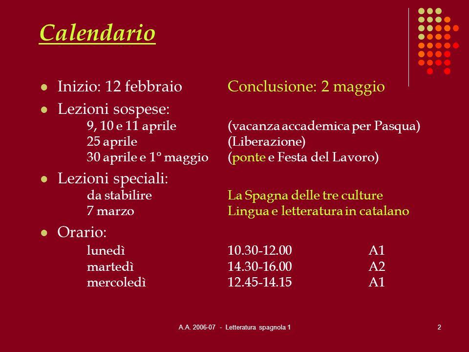 A.A. 2006-07 - Letteratura spagnola 1