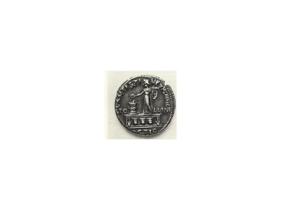 Denaro di C. Antistio Veto (16 a.C.) – La statua di Apollo