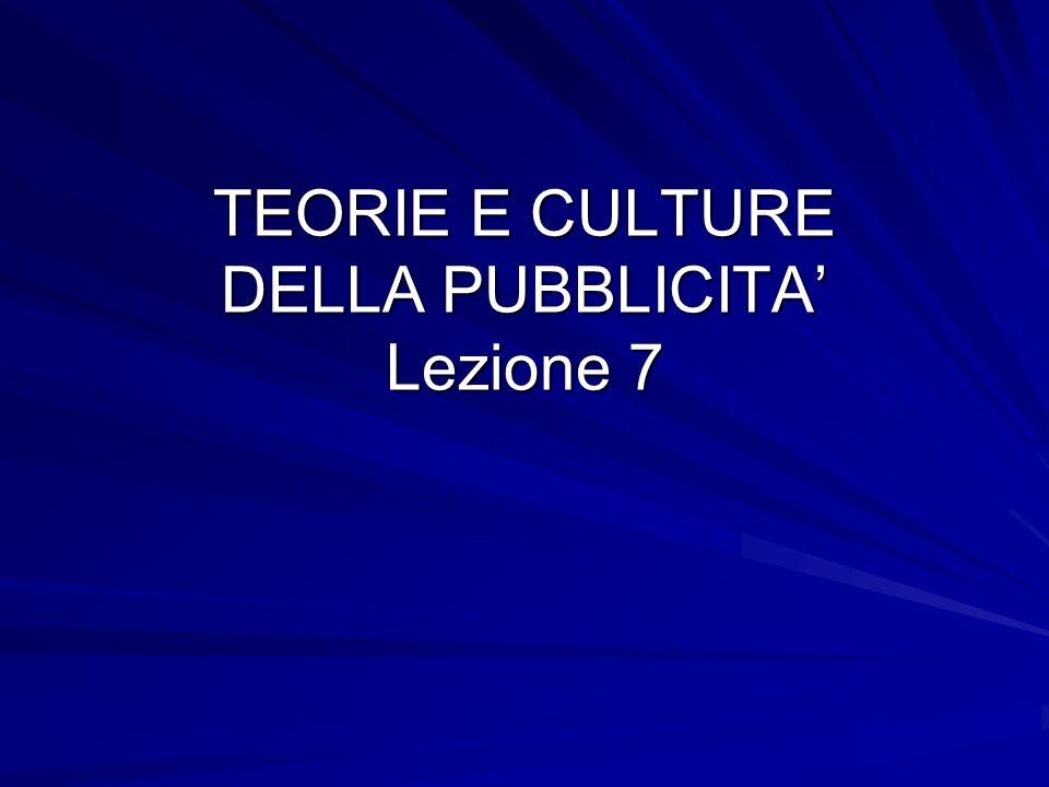 TEORIE E CULTURE DELLA PUBBLICITA' Lezione 7