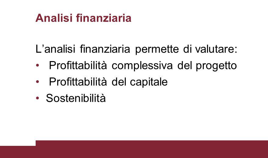 Analisi finanziaria L'analisi finanziaria permette di valutare: Profittabilità complessiva del progetto.
