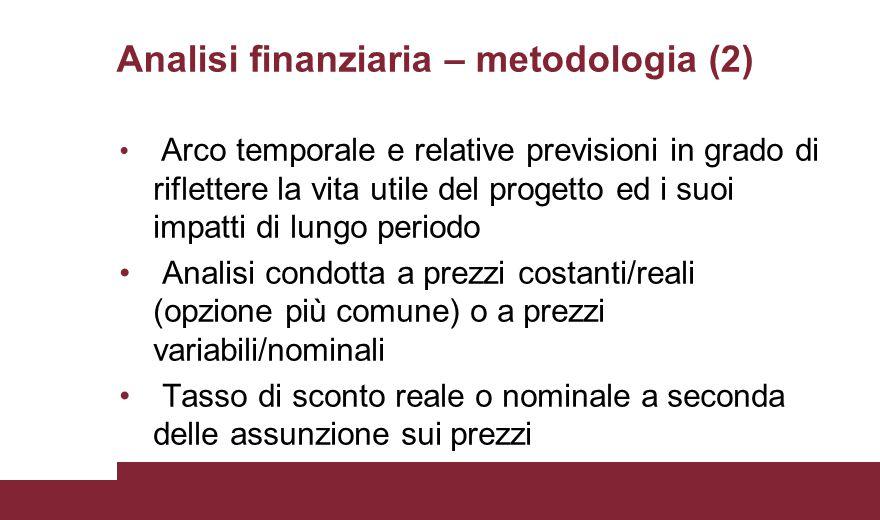 Analisi finanziaria – metodologia (2)