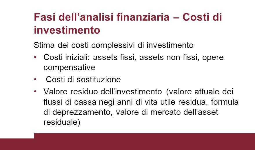 Fasi dell'analisi finanziaria – Costi di investimento