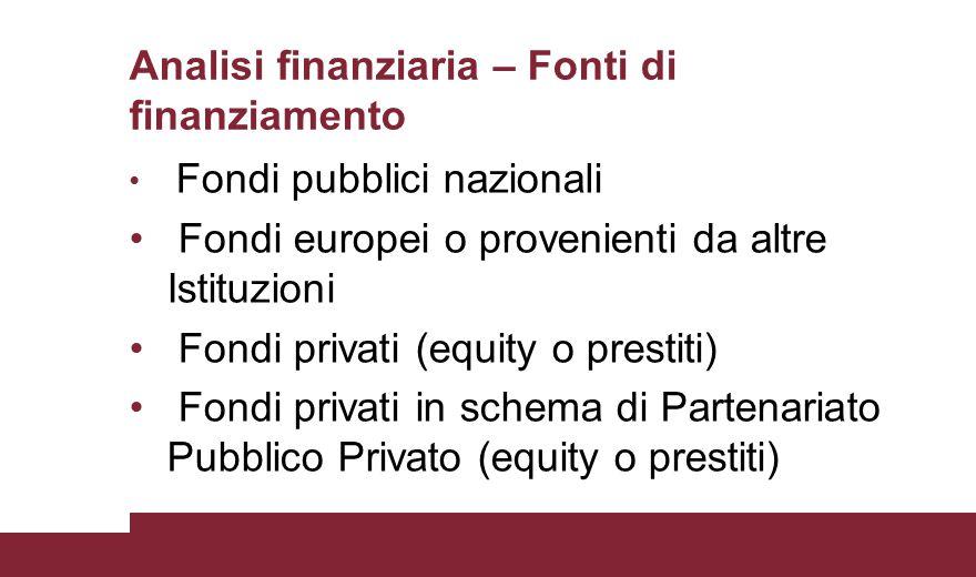 Analisi finanziaria – Fonti di finanziamento