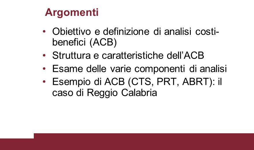 Argomenti Obiettivo e definizione di analisi costi-benefici (ACB)