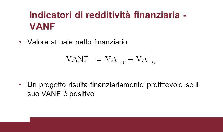 Indicatori di redditività finanziaria - VANF