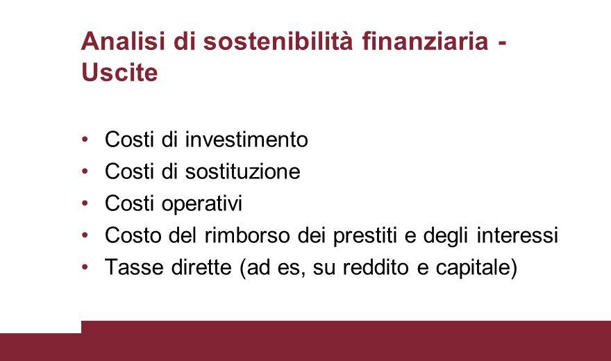 Analisi di sostenibilità finanziaria - Uscite