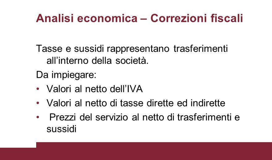 Analisi economica – Correzioni fiscali