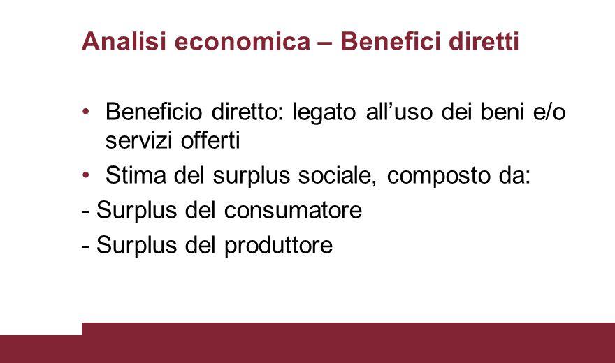 Analisi economica – Benefici diretti