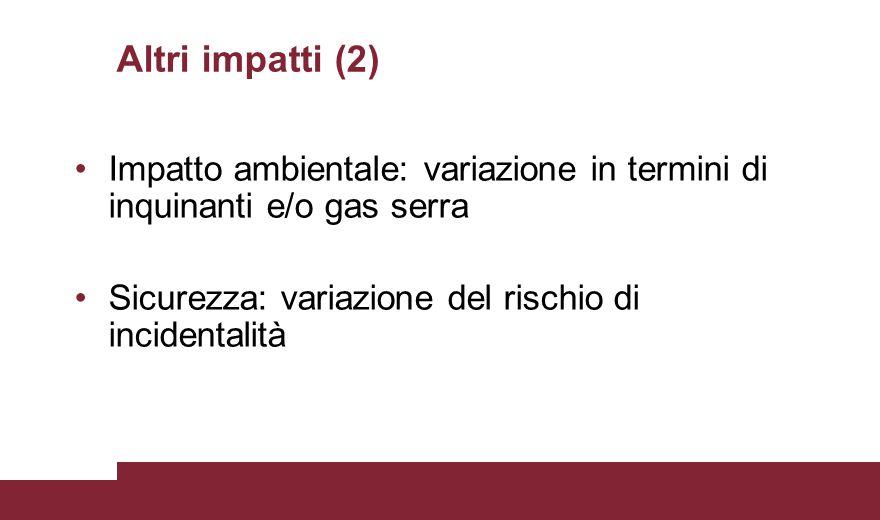 Altri impatti (2) Impatto ambientale: variazione in termini di inquinanti e/o gas serra.