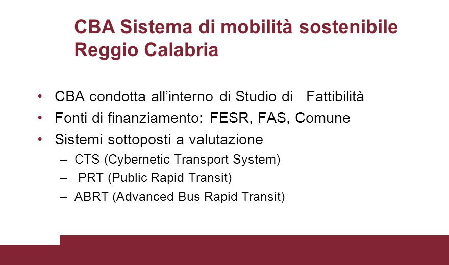 CBA Sistema di mobilità sostenibile Reggio Calabria