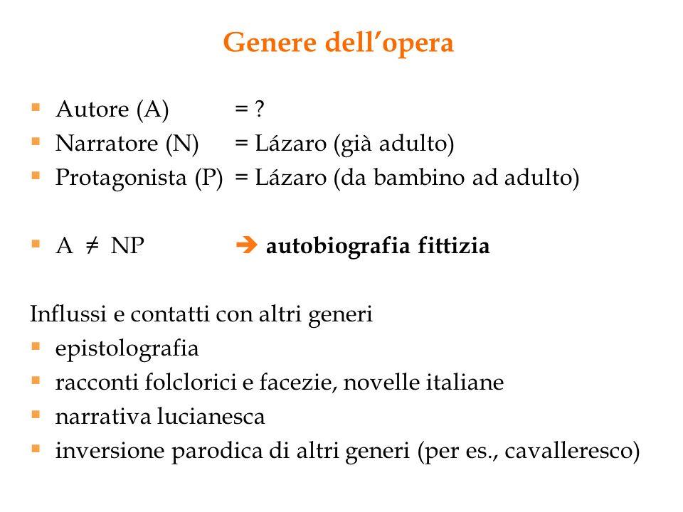 Genere dell'opera Autore (A) = Narratore (N) = Lázaro (già adulto)