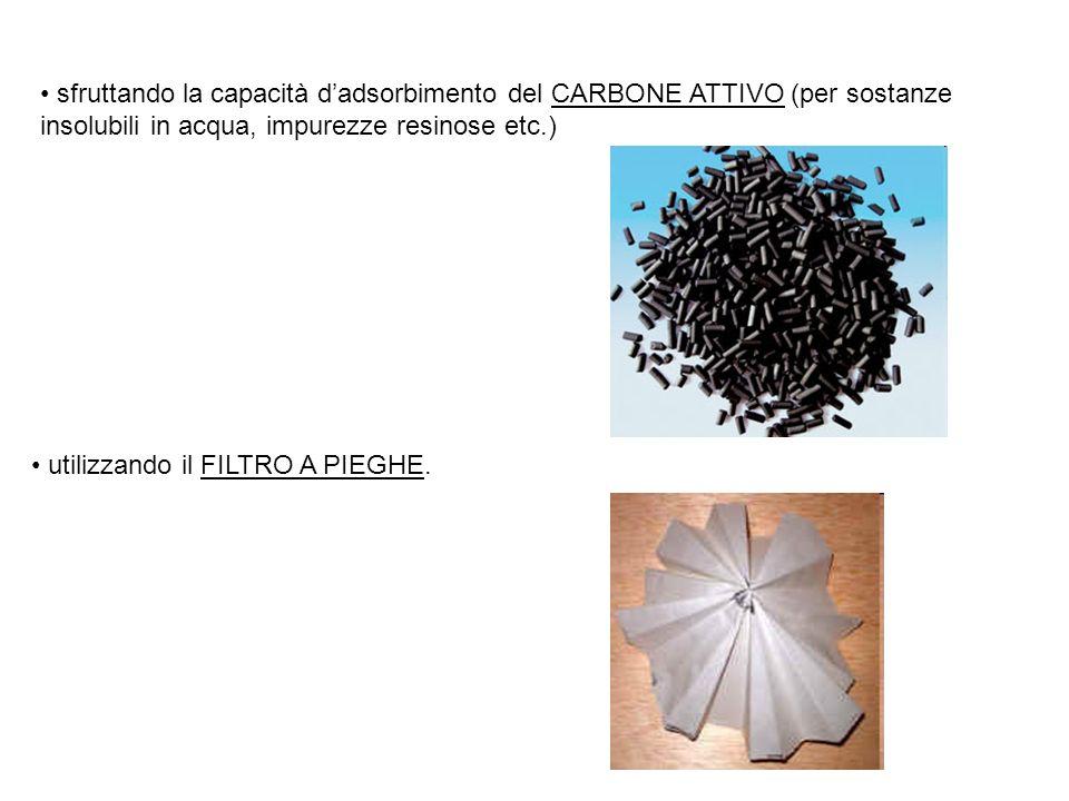 sfruttando la capacità d'adsorbimento del CARBONE ATTIVO (per sostanze insolubili in acqua, impurezze resinose etc.)
