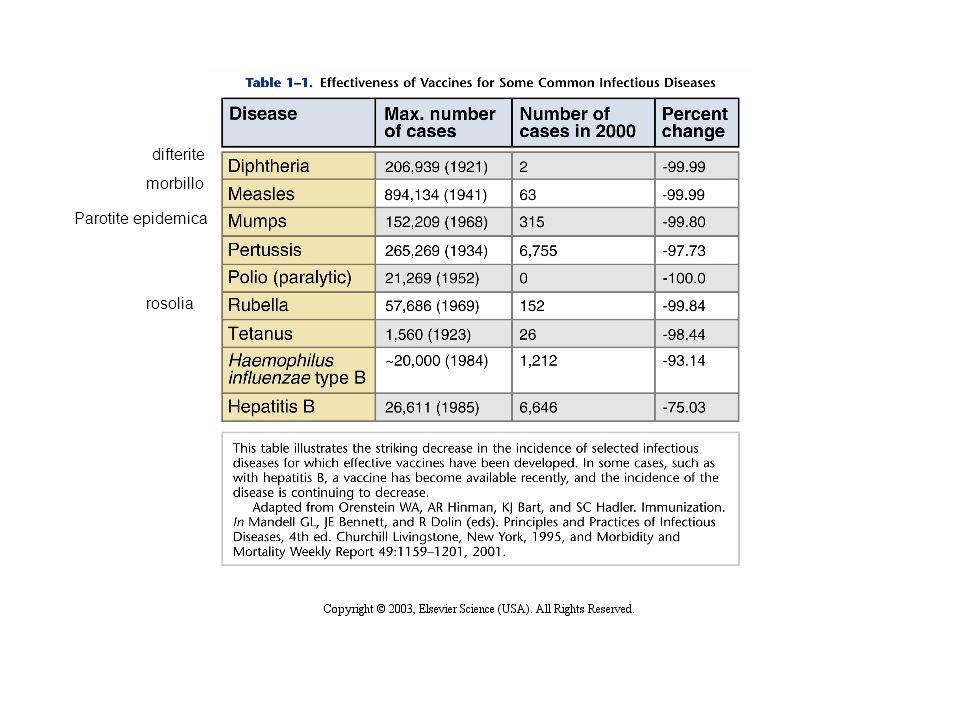 difterite morbillo Parotite epidemica rosolia