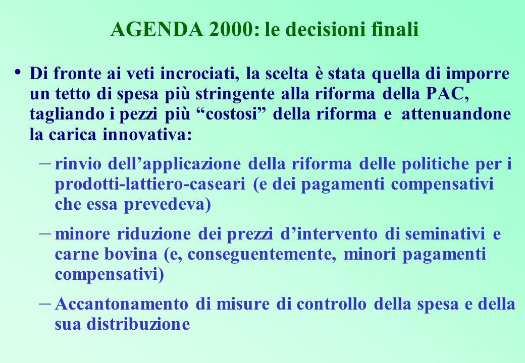 AGENDA 2000: le decisioni finali