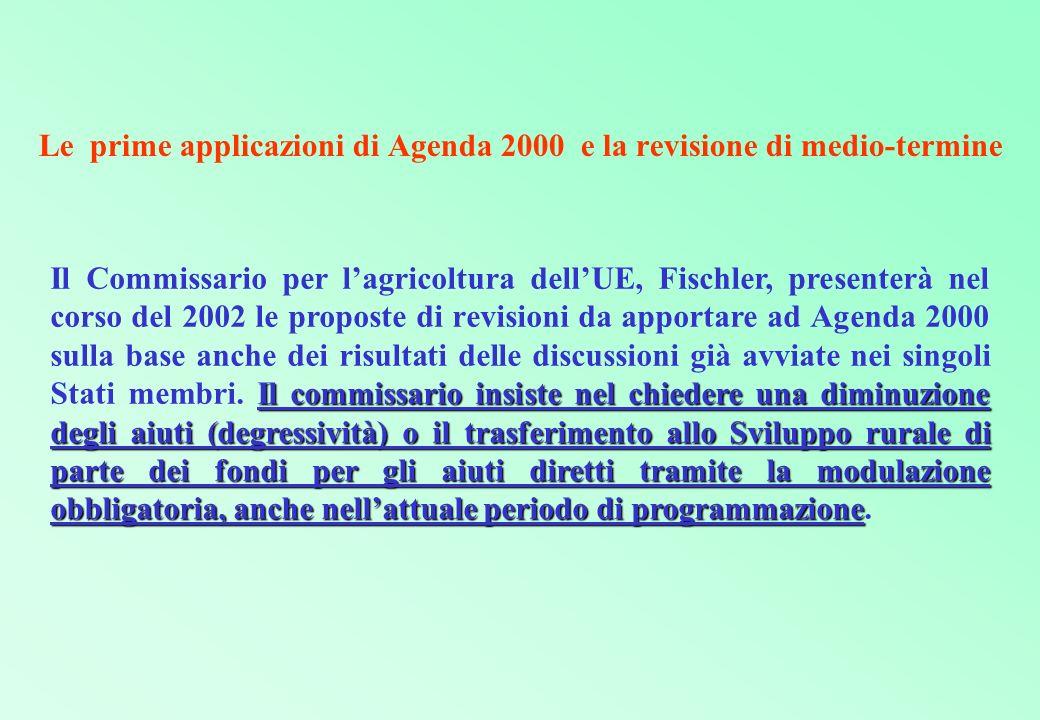 Le prime applicazioni di Agenda 2000 e la revisione di medio-termine