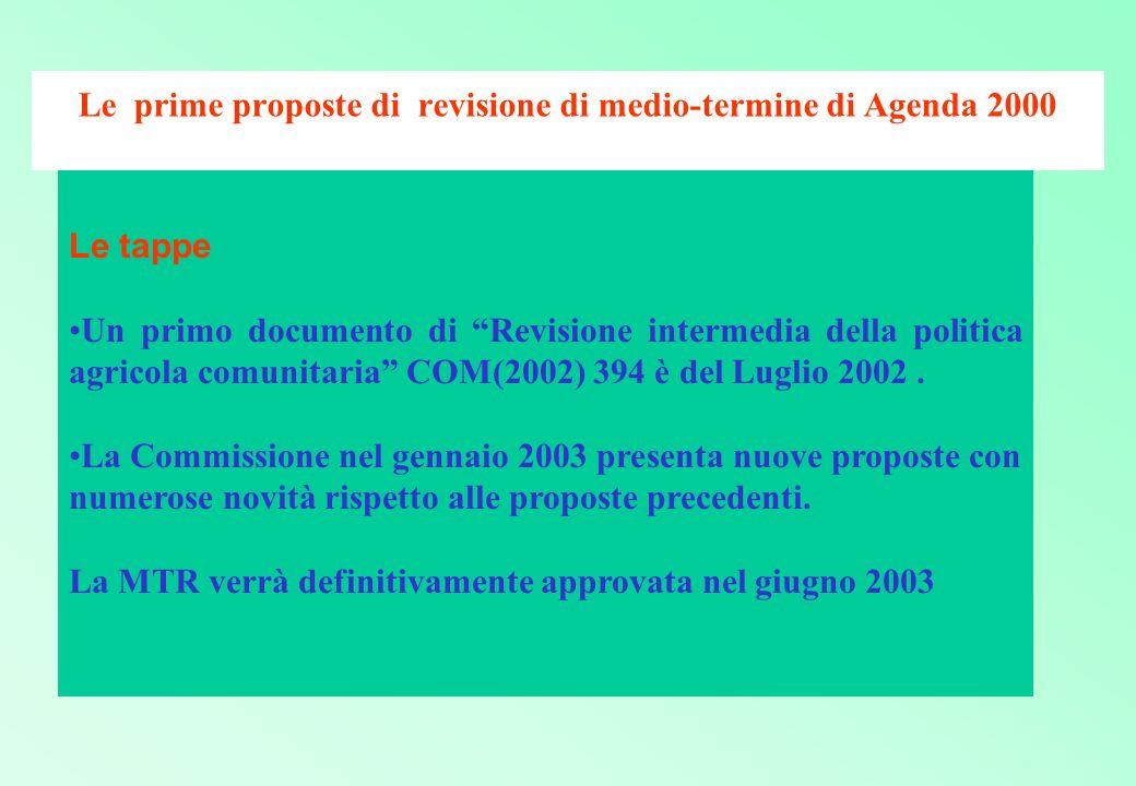 Le prime proposte di revisione di medio-termine di Agenda 2000