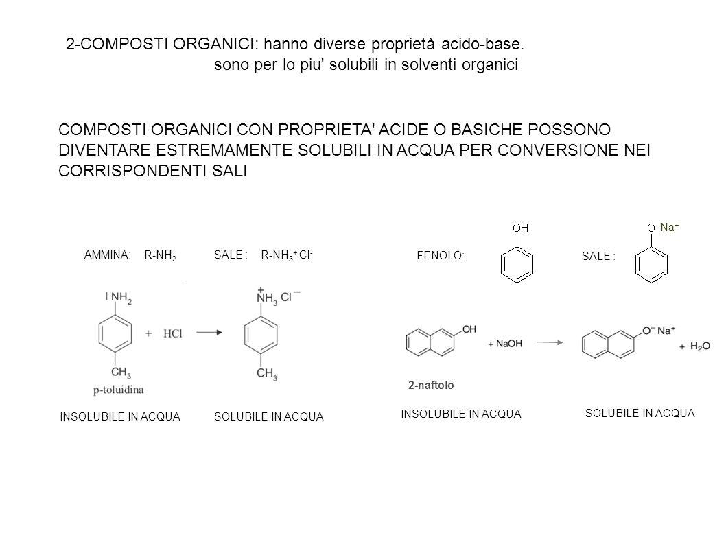 2-COMPOSTI ORGANICI: hanno diverse proprietà acido-base.