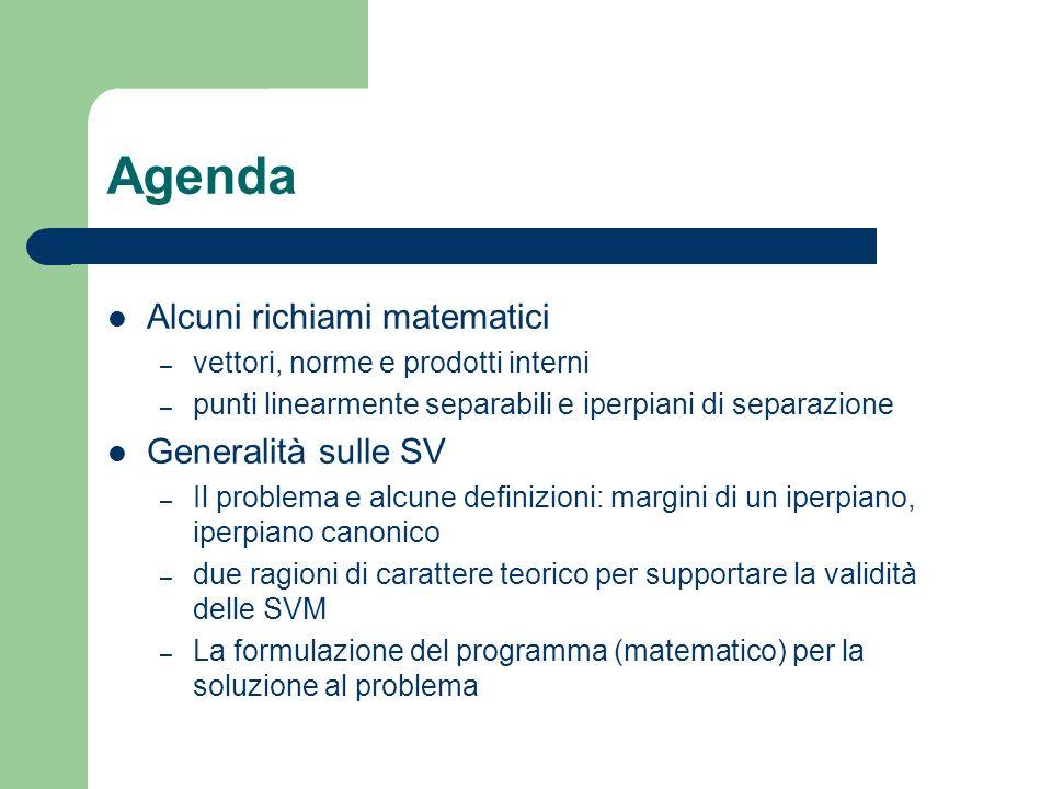Agenda Alcuni richiami matematici Generalità sulle SV