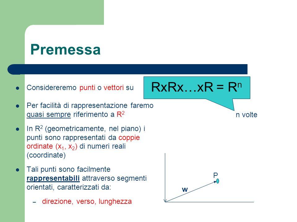 Premessa RxRx…xR = Rn Considereremo punti o vettori su