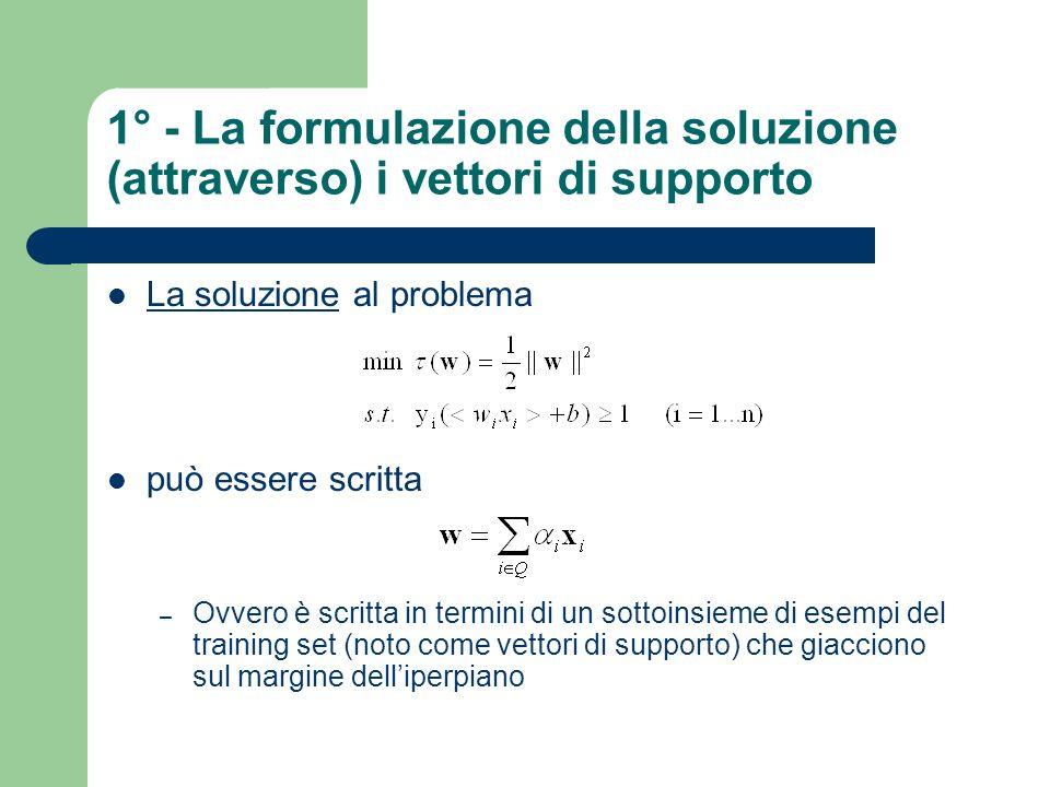 1° - La formulazione della soluzione (attraverso) i vettori di supporto