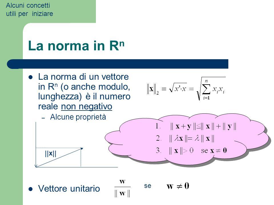 Alcuni concetti utili per iniziare. La norma in Rn. La norma di un vettore in Rn (o anche modulo, lunghezza) è il numero reale non negativo.
