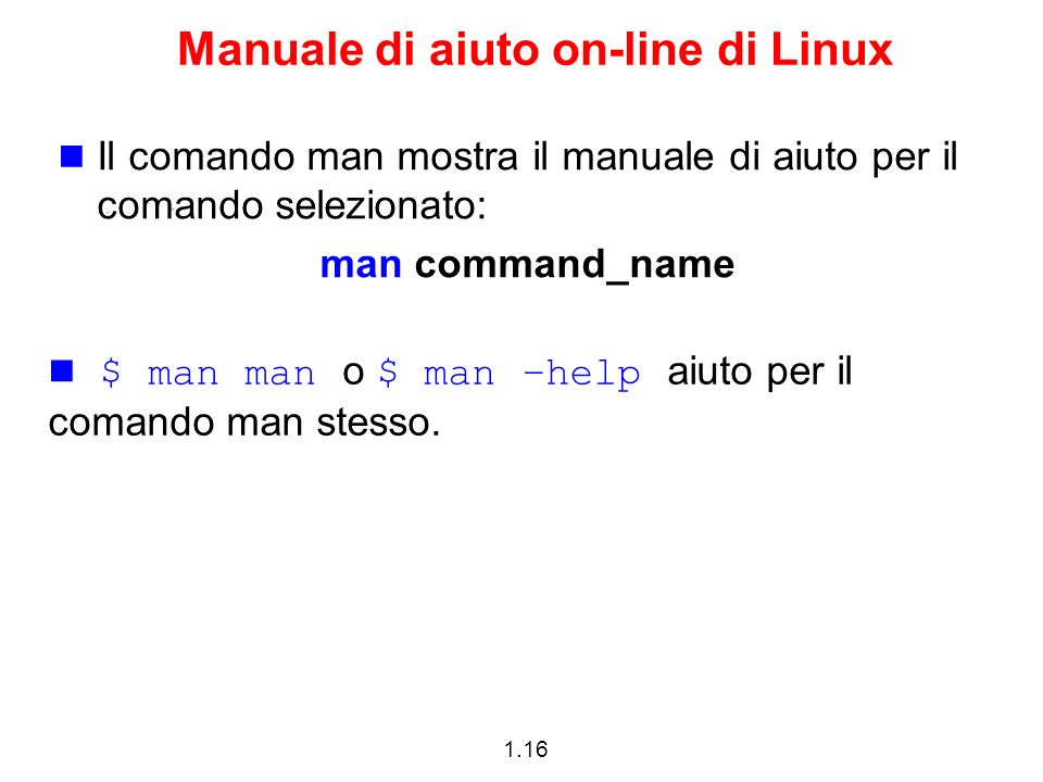 Manuale di aiuto on-line di Linux