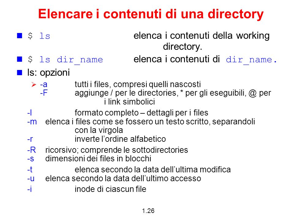 Elencare i contenuti di una directory