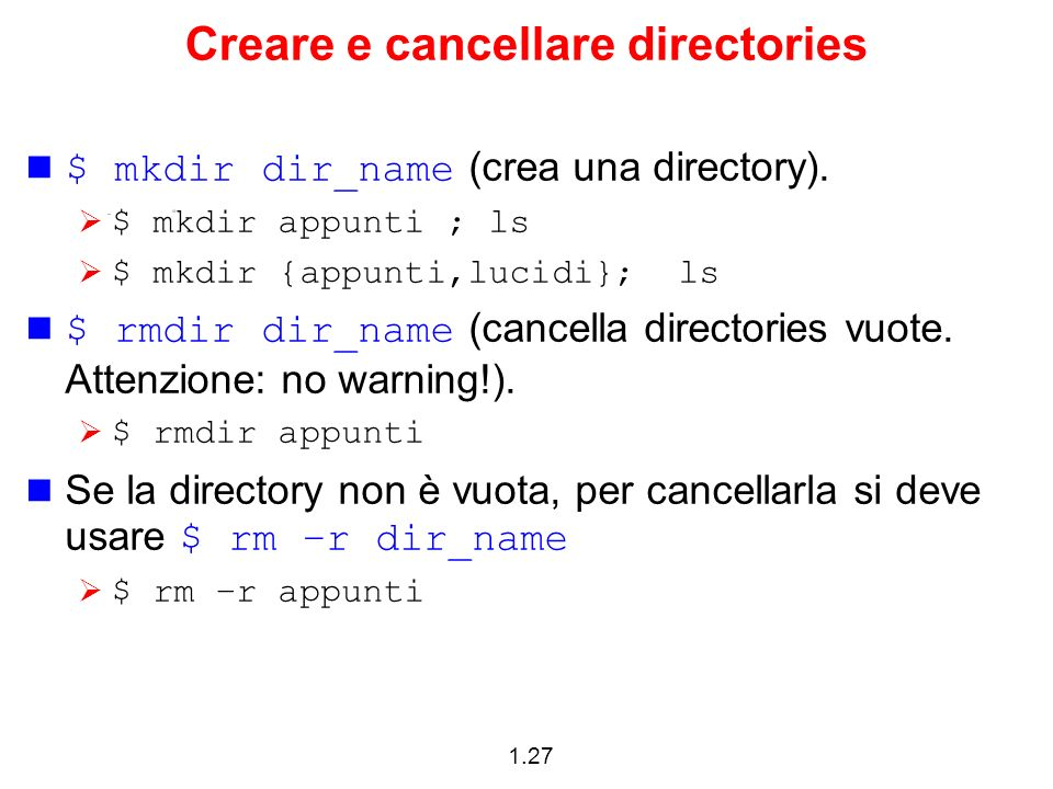 Creare e cancellare directories