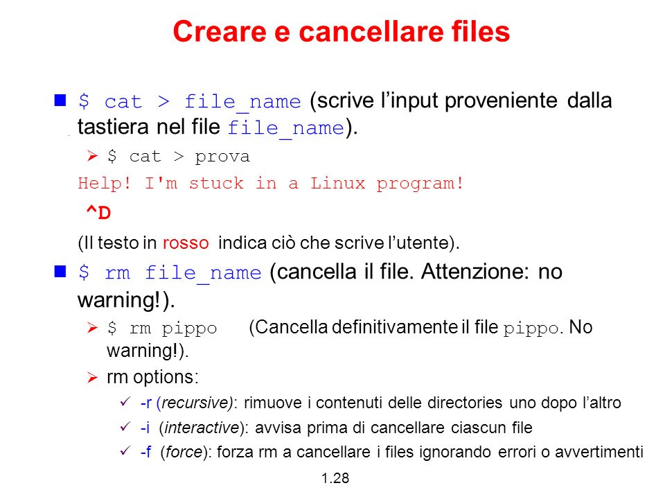 Creare e cancellare files