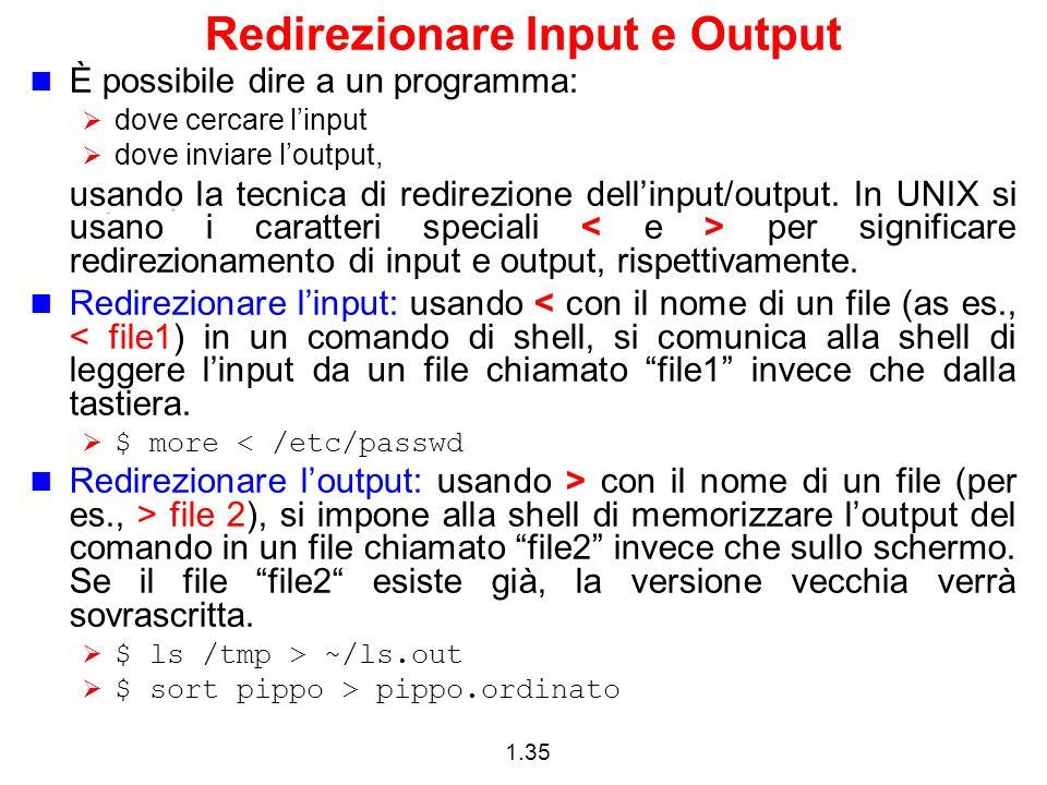 Redirezionare Input e Output