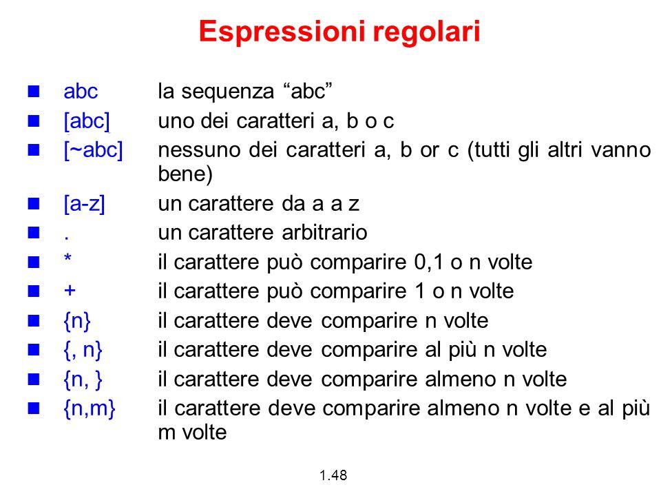 Espressioni regolari abc la sequenza abc