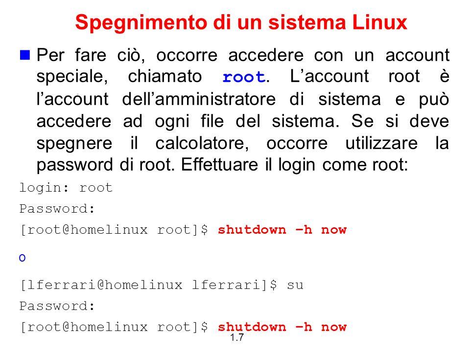 Spegnimento di un sistema Linux